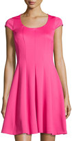 Karl Lagerfeld Cap-Sleeve Fit-and-Flare Dress, Cerise