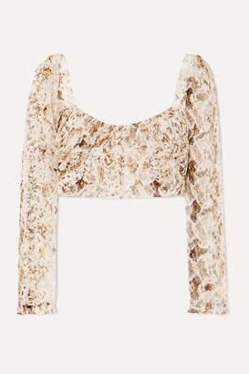Nicholas Gathered Snake-print Silk-chiffon Top - Brown