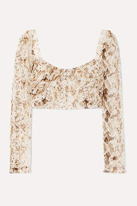 Nicholas Gathered Snake-print Silk-chiffon Top - Brown