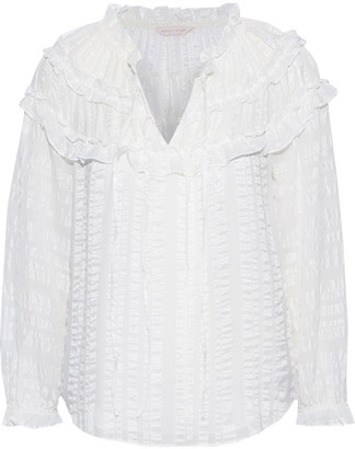 Rebecca Taylor Ruffle-trimmed Silk-satin And Crepe De Chine Blouse