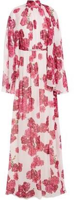 Giambattista Valli Cape-effect Gathered Floral-print Silk-chiffon Gown