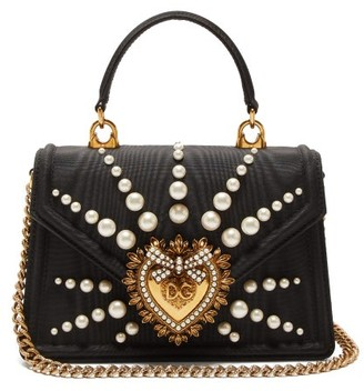 Dolce & Gabbana Devotion Faux Pearl-embellished Moire Bag - Black