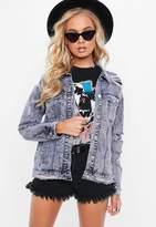 Missguided Purple Ripped Drop Shoulder Denim Jacket