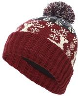 Mantaray Red Fair Isle Reindeer Bobble Hat
