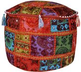 Lal Haveli Handcrafted Embroidery Patchwork Round Ottoman Cover 17 X 17 X 12 Inches