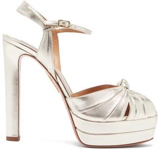 Aquazzura Evita 130 Metallic-effect Leather Platform Sandals - Gold