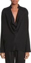 Zero Maria Cornejo Drape Neck Stretch Silk Blouse