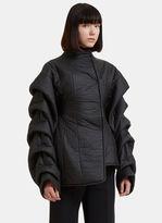 Awake Ruched Sleeves Asymmetric Puffer Jacket in Black