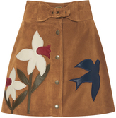 RED Valentino Suede Macroflower Embroidered Skirt