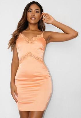 Missguided Orange Satin Lace Insert Mini Dress