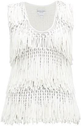 Bottega Veneta Fringed-knit Cotton-blend Top - Cream