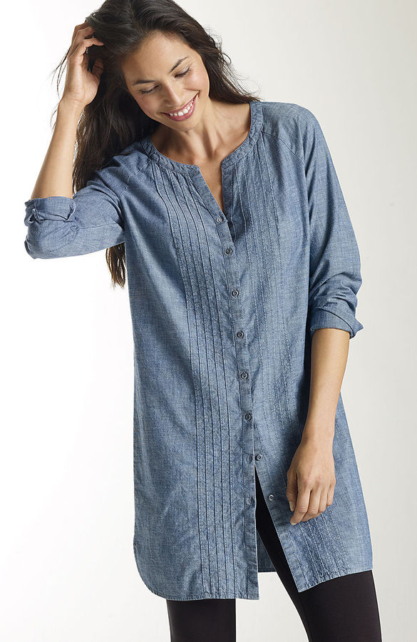 J. Jill Pintucked cotton tunic