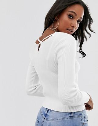 Asos Design DESIGN fine rib jumper with cross back detail-White