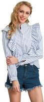 Simplee Apparel Women's Stand Collar Ruffled Striped Blouse Shirt