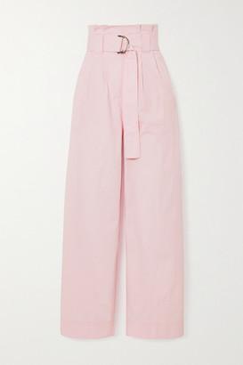 Ganni Belted Cotton-blend Ripstop Wide-leg Pants