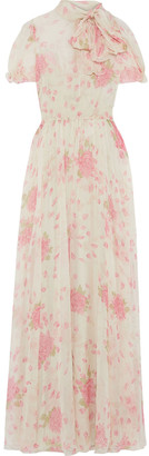 Valentino Pussy-bow Floral-print Silk-chiffon Maxi Dress