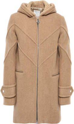 Sandro Faux Fur-trimmed Wool-blend Felt Hooded Coat