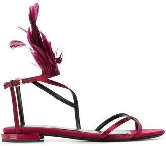 Lanvin Feather Trim Flat Sandals