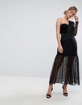 Three floor One Shoulder Pleated Midi Lace Dress