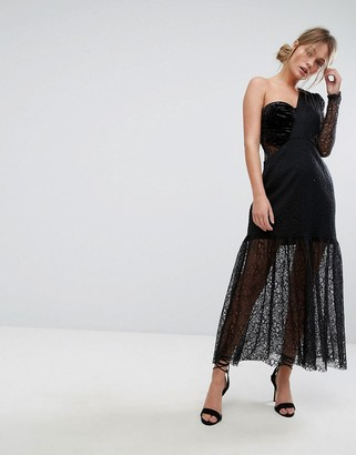 Three floor One Shoulder Pleated Midi Lace Dress