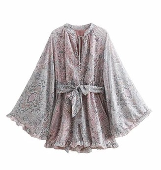 Goodnight Macaroon 'Elva' Bohemian Print Flare Belted Romper