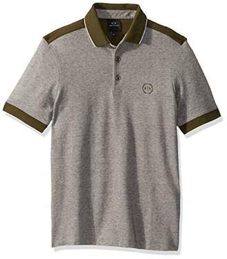 Armani Exchange A|X Men's Short Polo Shirt with Stripes on Sleeve