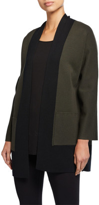 Eileen Fisher Colorblock Merino Wool Cardigan