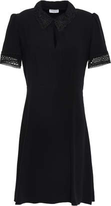 Claudie Pierlot Raven Flared Lace-trimmed Cady Mini Dress
