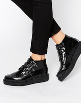T.U.K. Stud Point Creeper Leather Flat Ankle Boots