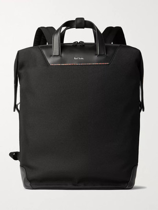 Paul Smith Leather-Trimmed Canvas Backpack - Men - Black