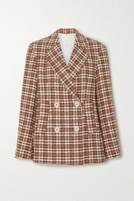 REMAIN Birger Christensen Debbie Double-breasted Checked Cotton-blend Tweed Blazer - Brown