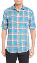 Bugatchi Men's Shaped Fit Plaid Linen Sport Shirt