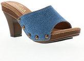 Sbicca Zina Banded Denim Slip On Studded Stacked Heel Sandals