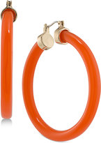 Trina Turk Gold-Tone Coral-Colored Hoop Earrings