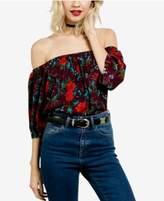 Volcom Juniors' Floral-Print Off-The-Shoulder Top