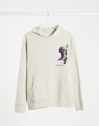 Topman hoodie with back print in stone