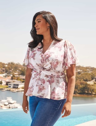 Forever New Sierra Curve Twist-Front Blouse - ROSY BOUQUET - 18