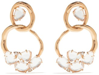 Brumani 18kt rose gold Looping diamond and quartz earrings