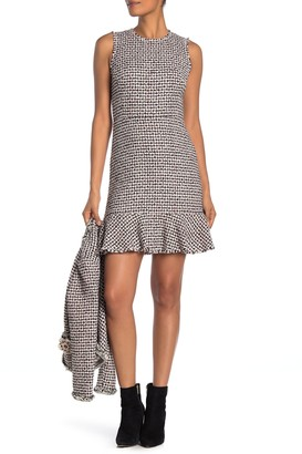 Rebecca Taylor Houndstooth Tweed Ruffle Hem Dress