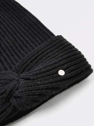 River Island Twist Front Faux Fur Beanie Hat - Black