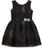 Zoë Ltd Sleeveless Jacquard Striped Party Dress, Black, Size 4-6