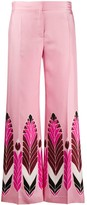 Valentino feather print flared trousers