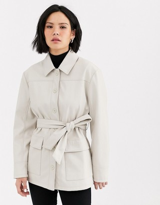Topshop faux leather utility shacket in cream