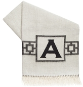 Jonathan Adler Nixon Border Monogrammed Baby Alpaca Wool Throw Pillow