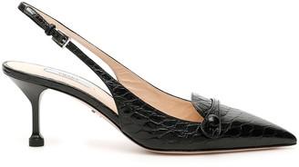 Prada Croc-print Slingbacks