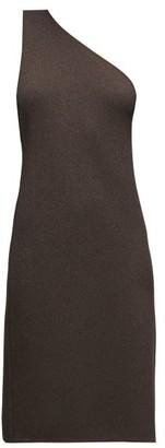 Bottega Veneta One-shoulder Knitted Dress - Womens - Dark Brown