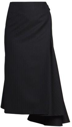 Dries Van Noten Side Sash Pinestripe Asymmetric Wool-Blend Midi Skirt
