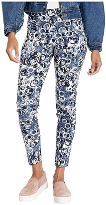 Elliott Lauren Deep Blue Sea Pull-On Ankle Pants with Back Slit Detail (Blue Multi) Women's Clothing