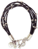 Lucky Brand Silver-Tone Leather Bracelet