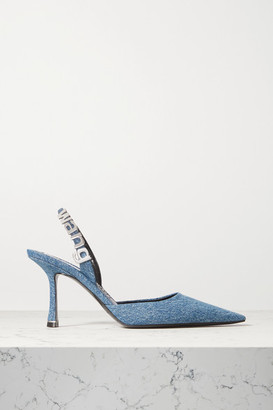 Alexander Wang Grace Logo-embellished Denim Slingback Pumps - Mid denim